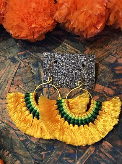 Yellow Silk Fan Earrings