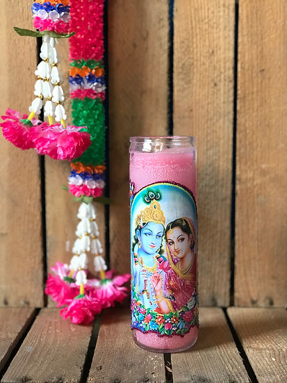 7 Day Pink Glitter Vishnu and Lakshmi Candle