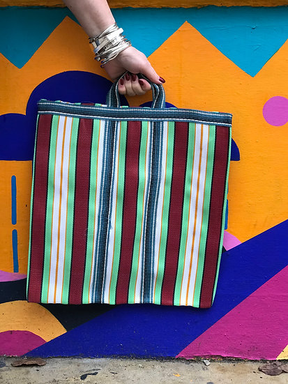 Stripy Shopper Small - Red and Green