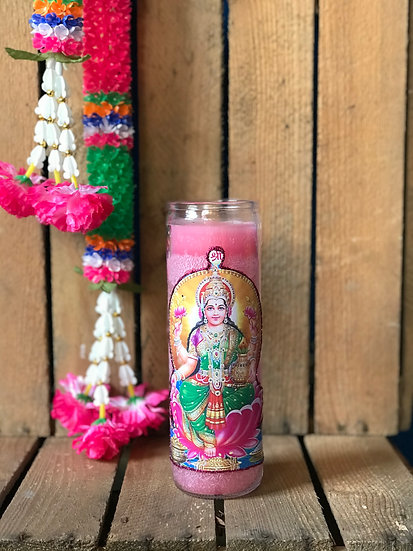 7 Day Pink Glitter Lakshmi Candle