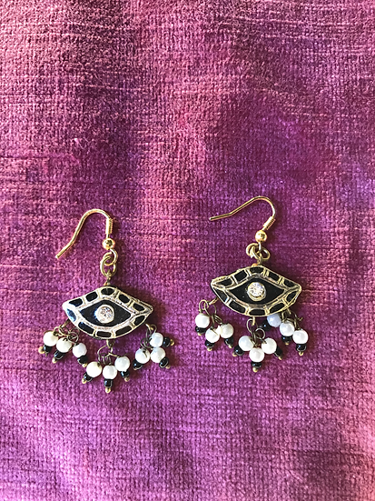 Vintage Indian Enamel Earrings