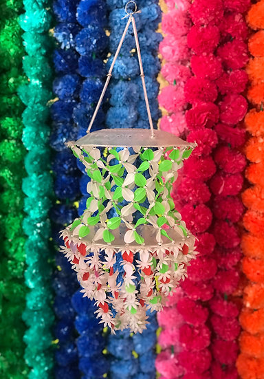 Indian Green and White Beaded Ceiling Hangy