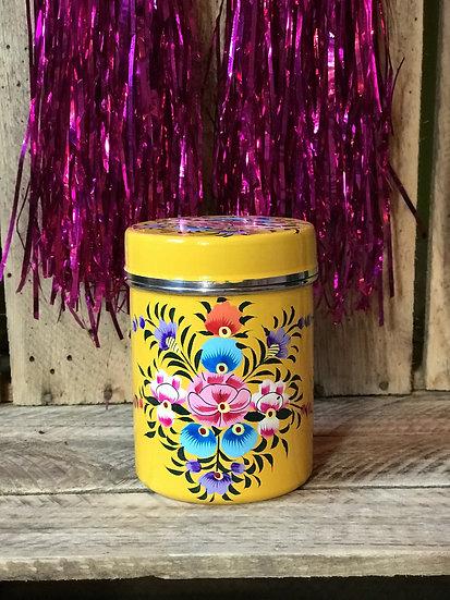 Yellow Floral Enamel Kashmir Tin