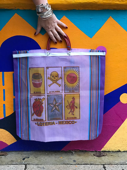 Mexican Market Bag - Loteria Purple