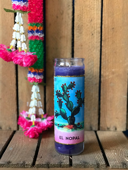 7 Day Purple Glitter Loteria El Nopal Candle