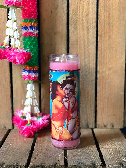 7 Day Pink Glitter Krishna and Balaram Candle