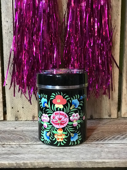 Black Floral Enamel Kashmir Tin