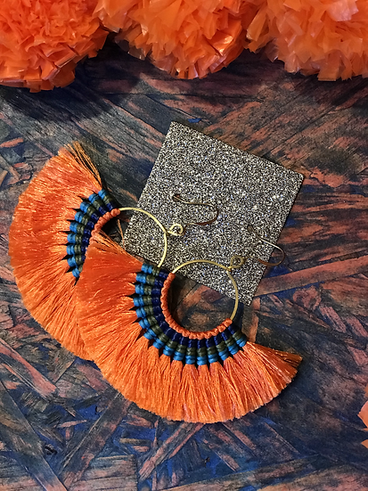 Orange Silk Fan Earrings