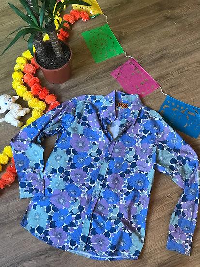 Blue Poppy Short Sleeve Shirt - Run & Fly