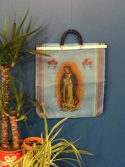 Mexican Market Bag - Our Lady of Guadalupe blue