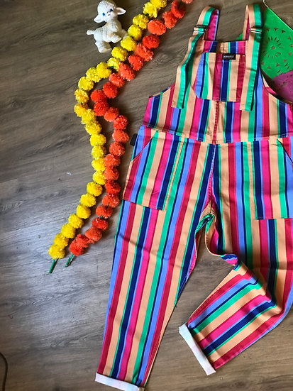 Rainbow Stripe Dungarees Twill - Run & Fly