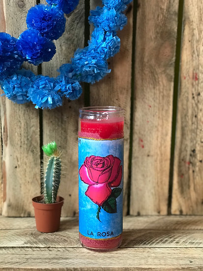 7 Day Red La Rosa Loteria Candle