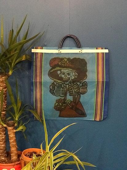 Mexican Market Bag - La Catrina blue