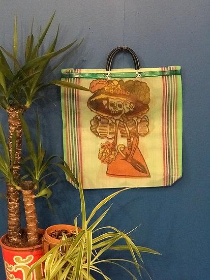 Mexican Market Bag - La Catrina white