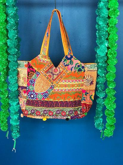 Boho Indian Patchwork Handbag - Large Tote