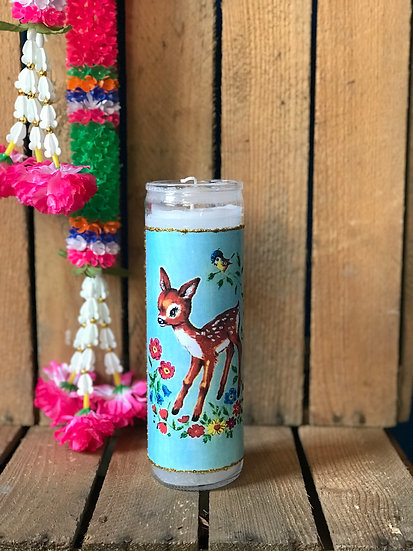 7 Day White Glitter Kitschy Deer Candle