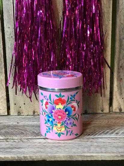 Pink Floral Enamel Kashmir Tin