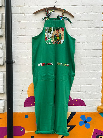 Frida Kahlo Green Linen Dungarees - Honey Darling.