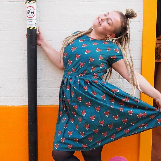 Green Fox Head Print Dress - Run & Fly