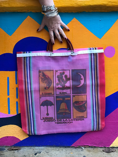 Mexican Market Bag - Loteria Pink