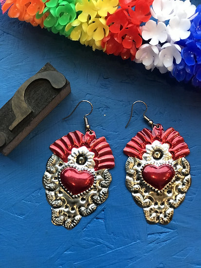Mexican Tin Earrings - Silver and Red Sacred Heart
