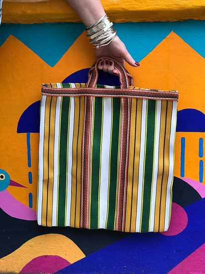 Stripy Shopper Small - Yellow and Green