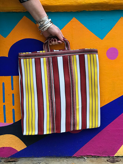 Stripy Shopper Small - Red and Yellow