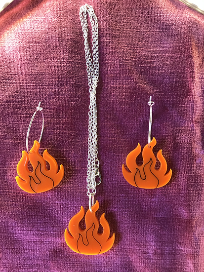 Flame Charm Jewellery Set