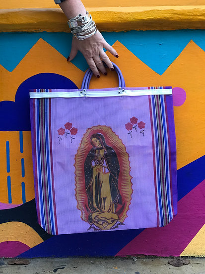 Mexican Market Bag - Our Lady Purple