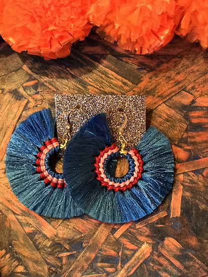 Blue Silk Fan Earrings