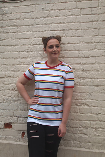 Rainbow Block Striped Tee - Run & Fly