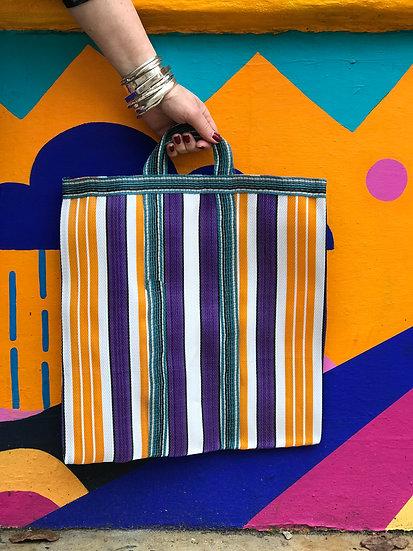 Stripy Shopper Small - Purple and Orange