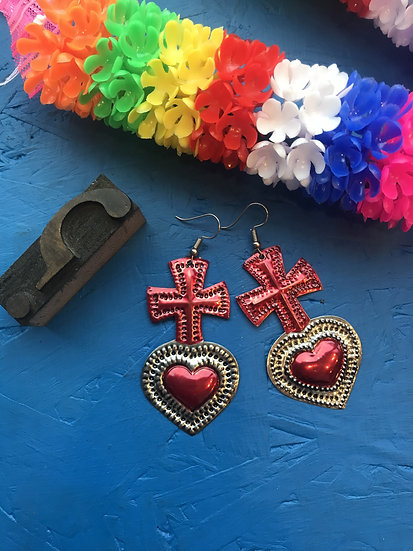 Mexican Tin Earrings - Red Cross Sacred Heart