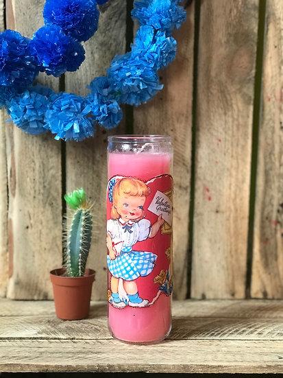 7 Day Pink Vintage Valentine Candle