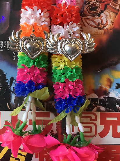 Mexican Tin Earrings - Fancy Winged Heart