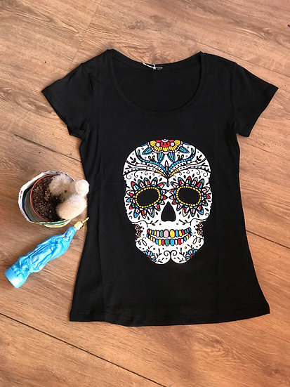 Sugar Skull Scoop Neck Tee