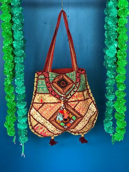Boho Indian Patchwork Handbag - Large unique shape