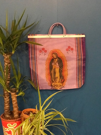 Mexican Market Bag - Our Lady of Guadalupe pink
