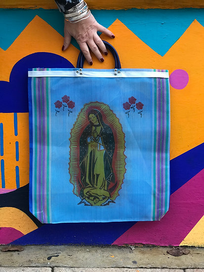 Mexican Market Bag - Our Lady Blue