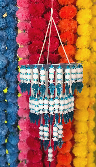 Indian Blue and White Beaded Ceiling Hangy