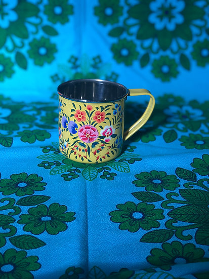 Yellow Floral Enamel Kashmir Mug