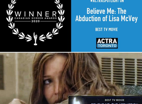 Believe Me, The Abduction of Lisa McVeigh wins Best TV Movie at the 2020 Canadian Screen Awards.