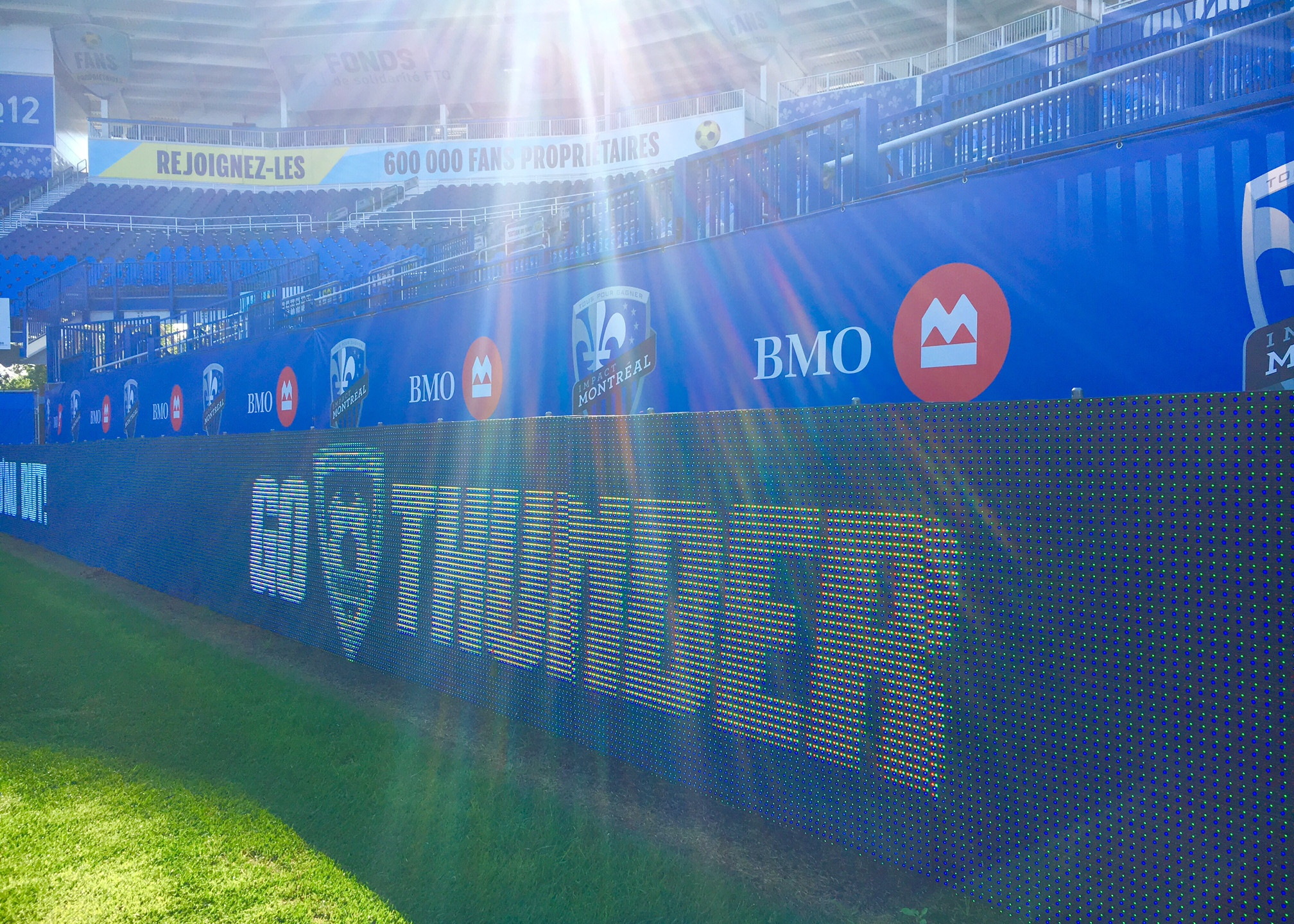 Checking out the animation on screens at the Saputo Stadium shooting 21 Thunder. Montreal, July 2016