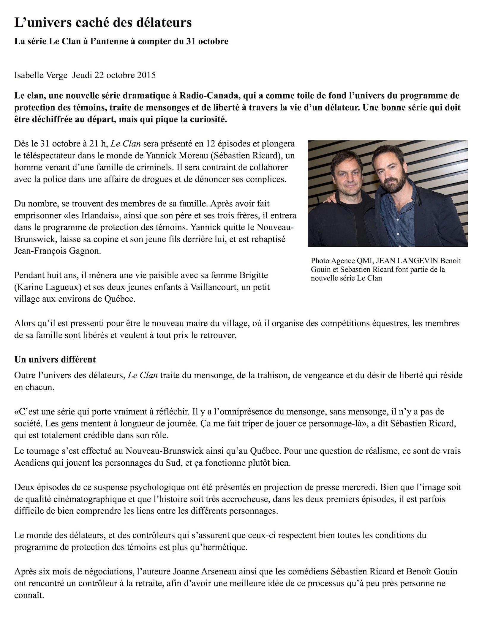 Le Journal de Montreal - L'univers caché des délateurs 2015-10-22