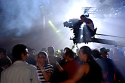 Pure - Cinematographer Jean-Pierre Gauthier lining up crane shot on the set 2003