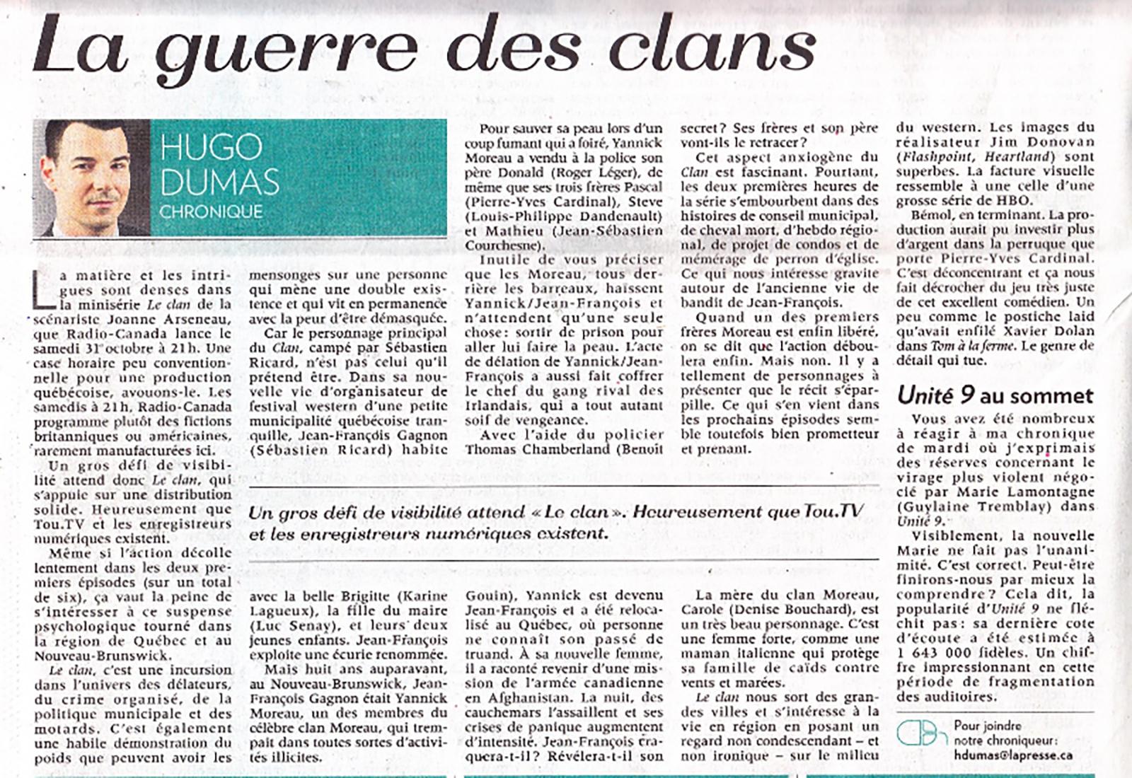 La Presse - La guerre des clans 2015-10-22