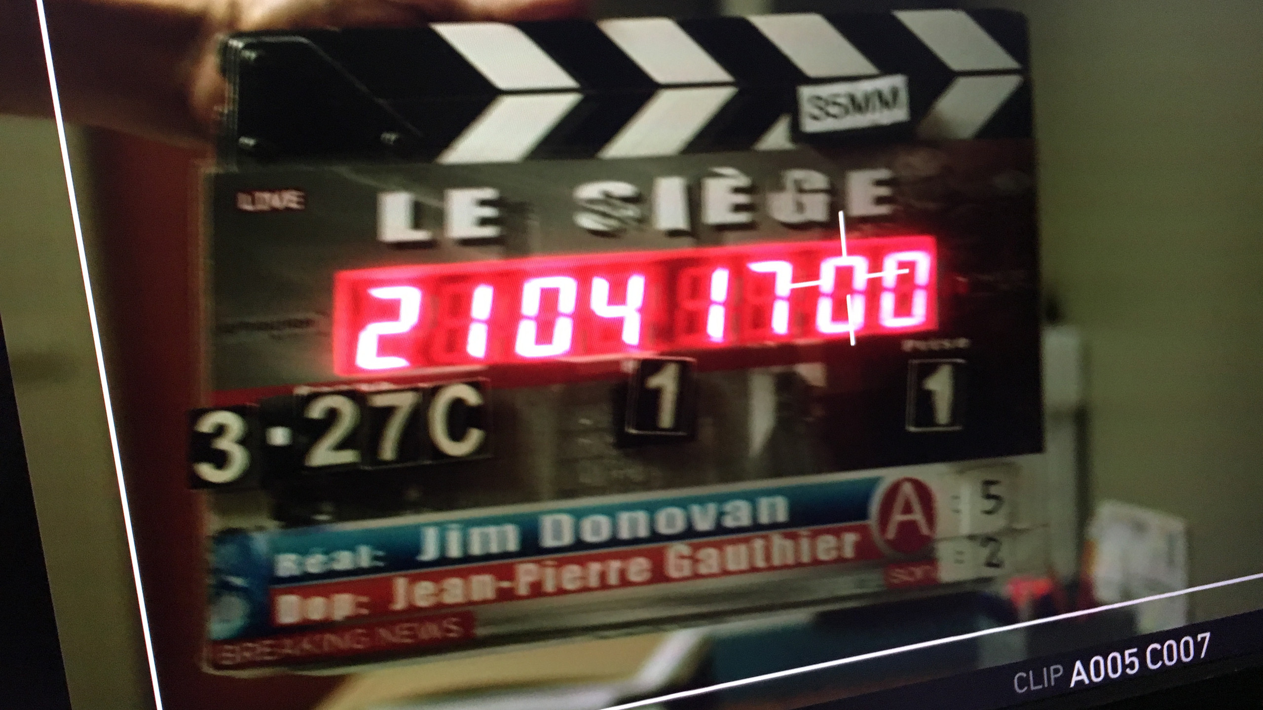 The slate for Le Siège. Moncton May 2017
