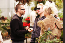 Pure - Jim Donovan with actors Robert Crooks and Karen Simpson on the set of Pure 2003