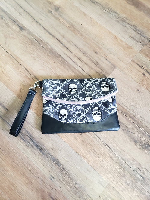 Skully Filigree Fold Over Clutch