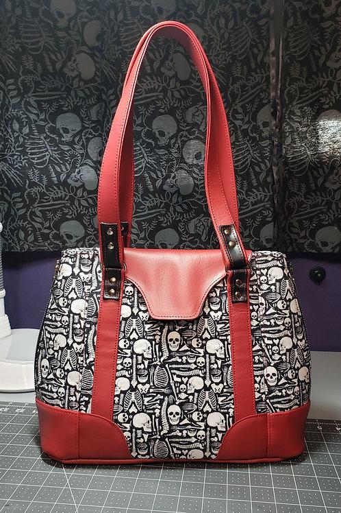 Skull and Spine Expandable Handbag